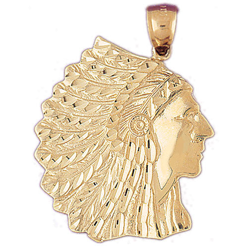 14K GOLD CHARM - AMERICAN INDIAN #5262