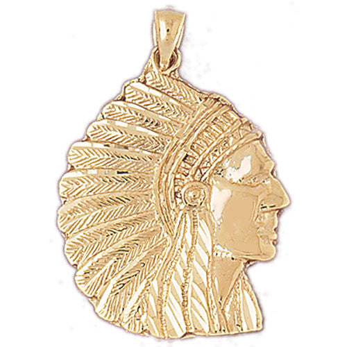 14K GOLD CHARM - AMERICAN INDIAN #5263