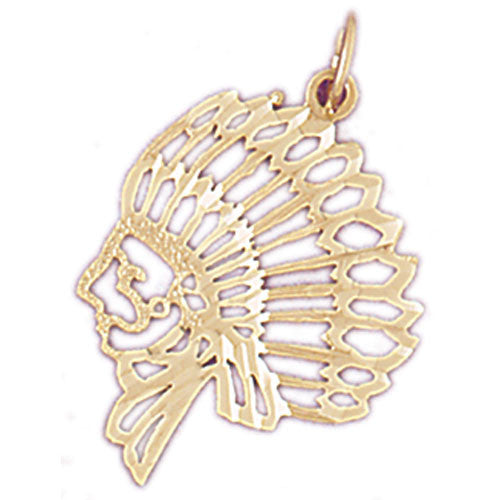 14K GOLD CHARM - AMERICAN INDIAN #5266