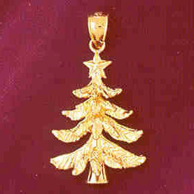 14K GOLD  CHRISTMAS CHARM - CHRISTMAS-TREE #5482
