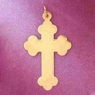 14K GOLD HANDCUT CHARM - CROSS #5826