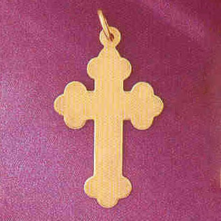14K GOLD HANDCUT CHARM - CROSS #5827