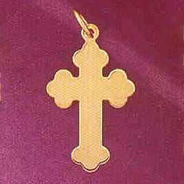 14K GOLD HANDCUT CHARM - CROSS #5828