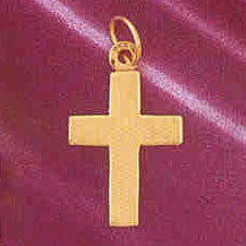 14K GOLD HANDCUT CHARM - CROSS #5830