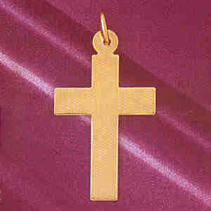 14K GOLD HANDCUT CHARM - CROSS #5831