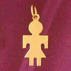 14K GOLD SILHOUETTE CHARM - A GIRL #5846