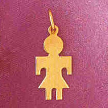 14K GOLD SILHOUETTE CHARM - A GIRL #5848