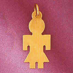14K GOLD SILHOUETTE CHARM - A GIRL #5850