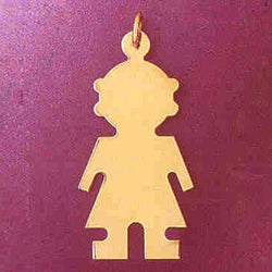 14K GOLD SILHOUETTE CHARM - A GIRL #5852