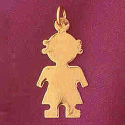 14K GOLD SILHOUETTE CHARM - A GIRL #5853