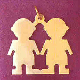 14K GOLD SILHOUETTE CHARM - 2 BOYS #5859