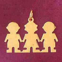 14K GOLD SILHOUETTE CHARM - 1 GIRL 2 BOYS #5860