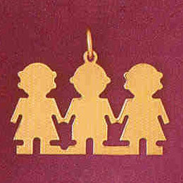 14K GOLD SILHOUETTE CHARM - 2 GIRL 1 BOY #5862