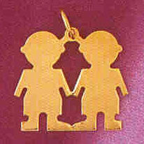 14K GOLD SILHOUETTE CHARM - 2 BOYS #5869