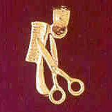 14K GOLD HAIRDRESSER CHARM - COMB AND SCISSORS #6381