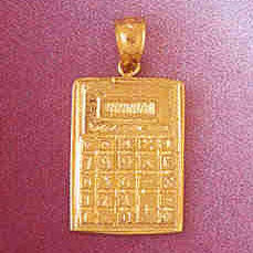 14K GOLD OFFICE CHARM - CALCULATOR #6435