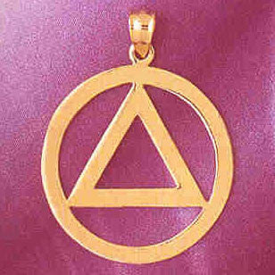Alcoholics Anonymous Triangle In Circle Symbol 14K Gold Charm Pendant  #6499