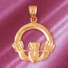 14K GOLD IRISH CLADDAH CHARM #7024