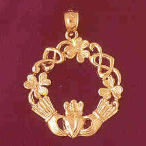 14K GOLD IRISH CLADDAH CHARM #7025