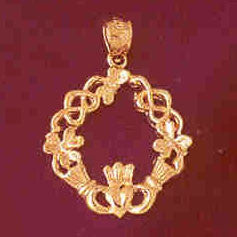 14K GOLD IRISH CLADDAH CHARM #7026