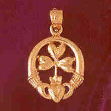 14K GOLD IRISH CLADDAH CHARM #7027