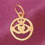 14K GOLD IRISH CLADDAH CHARM #7030