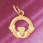 14K GOLD IRISH CLADDAH CHARM #7031