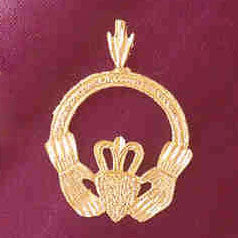 14K GOLD IRISH CLADDAH CHARM #7033