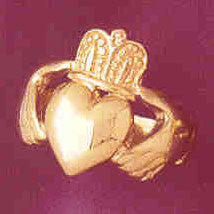 14K GOLD IRISH CLADDAH RING #7043