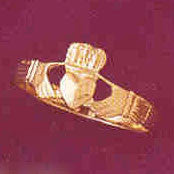 14K GOLD IRISH CLADDAH RING #7045