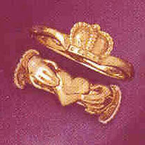 14K GOLD IRISH CLADDAH RING #7046