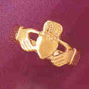 14K GOLD IRISH CLADDAH RING #7047
