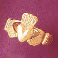 14K GOLD IRISH CLADDAH RING #7050