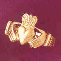 14K GOLD IRISH CLADDAH RING #7051