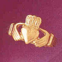14K GOLD IRISH CLADDAH RING #7052