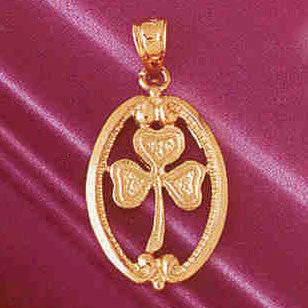 14K GOLD IRISH SHAMROCK CLADDAH CHARM #7067