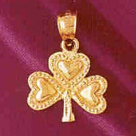 14K GOLD IRISH SHAMROCK CLADDAH CHARM #7075