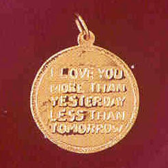 14K GOLD TALKING CHARM - I LOVE YOU MORE THAN YESTERDAY #7147