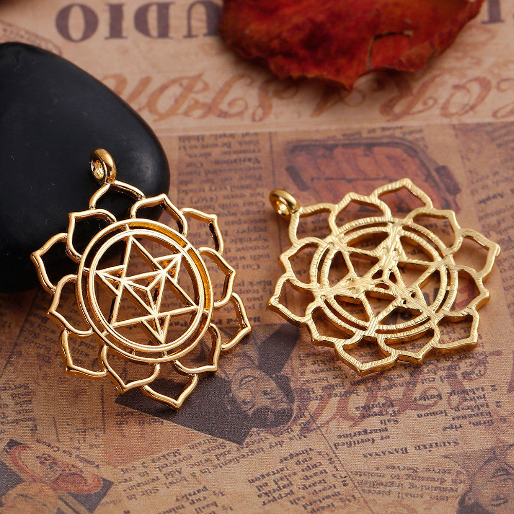 Zinc Based Alloy Merkaba Meditation Pendants Round gold-color Hollow 40mm(1 5/8