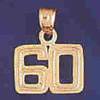 14K GOLD NUMERAL CHARM - 60 #9511