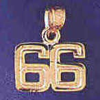 14K GOLD NUMERAL CHARM - 66 #9511