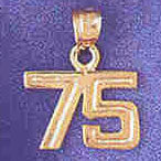 14K GOLD NUMERAL CHARM - 75 #9511