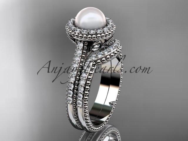 Platinum diamond pearl engagement set AP101S - AnjaysDesigns