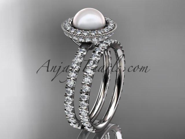 platinum diamond pearl vine and leaf engagement set AP106S - AnjaysDesigns