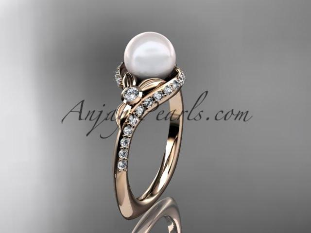 14k rose gold diamond pearl vine and leaf engagement ring AP112 - AnjaysDesigns
