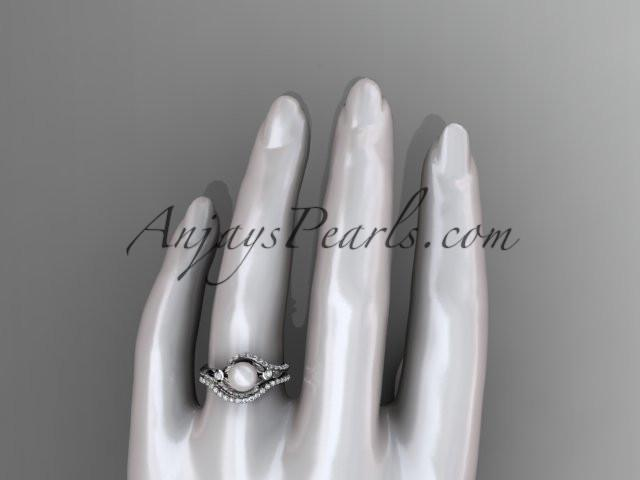 platinum diamond pearl vine and leaf engagement set AP112S - AnjaysDesigns