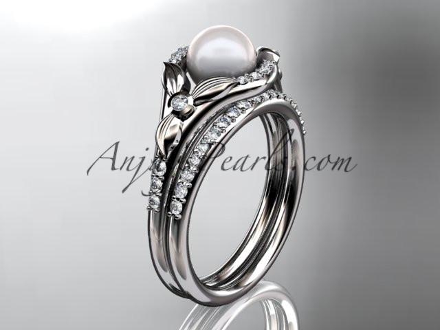 platinum diamond floral wedding ring, engagement set AP126S - AnjaysDesigns