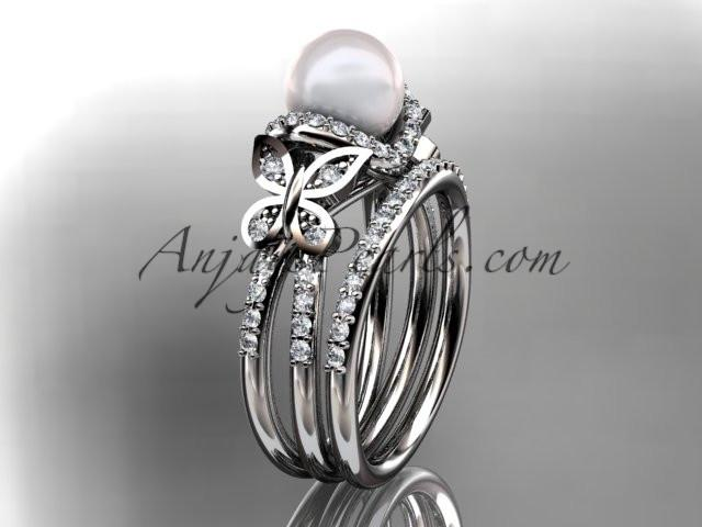 platinum diamond pearl unique engagement set, butterfly wedding ring AP141S - AnjaysDesigns