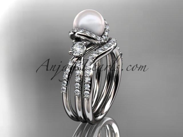 platinum diamond pearl unique engagement set, wedding ring AP146S - AnjaysDesigns