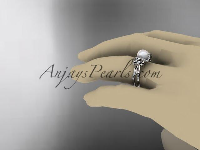 Platinum diamond pearl wedding ring, engagement ring AP155 - AnjaysDesigns